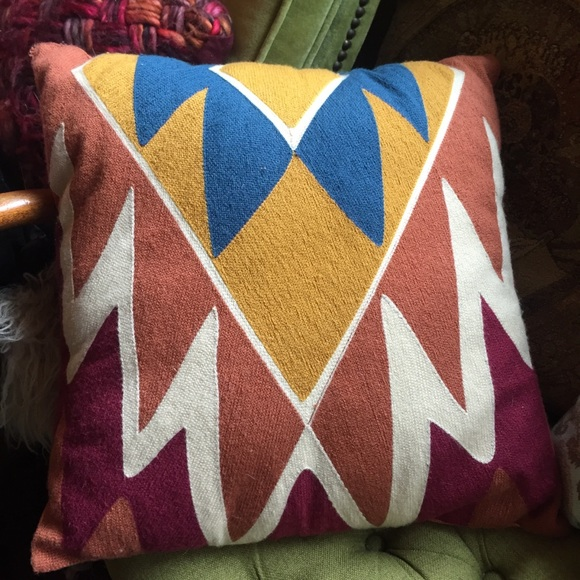 Anthropologie Other - Geometric woven natural wool throw pillow /anthro